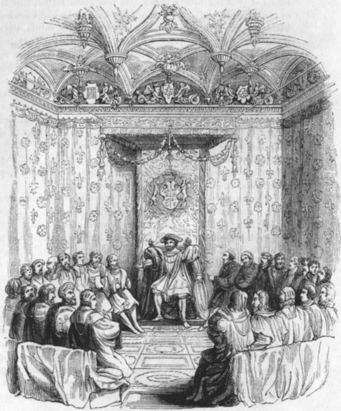 Associate Product KINGS. Henry VIII & his council(Hall, 1548) 1845 old antique print picture