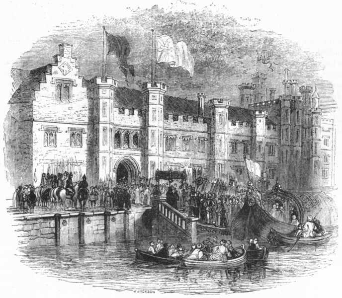 LONDON. Palace, Greenwich Returning Christening 1845 old antique print picture