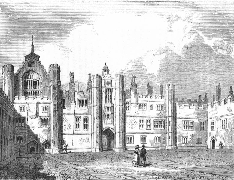 Associate Product LONDON. Middle Quad of palace Hampton-Ct 1845 old antique print picture