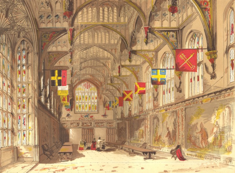 Associate Product LONDON. Wolsey's Hall, Hampton court 1845 old antique vintage print picture