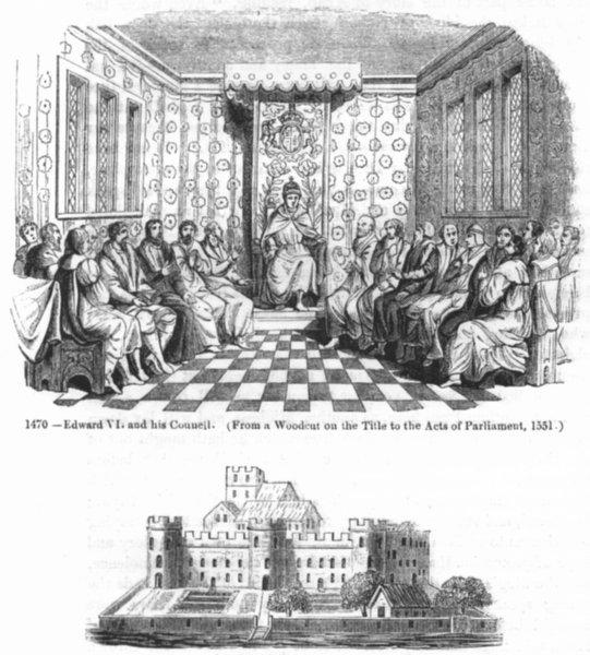 Associate Product LONDON. Edward VI & council 1551, Old Somerset House 1845 antique print
