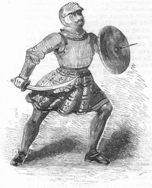 Associate Product MILITARIA. Foot Soldier, 1508 1845 antique vintage print picture