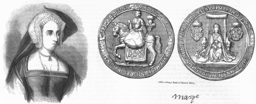 Associate Product ROYALTY. Queen Mary(Holbein); Seal of; (Vespasian) 1845 old antique print