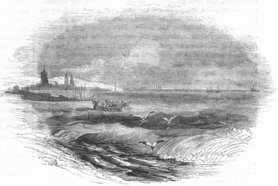 Associate Product FRANCE. Calais from the sea 1845 old antique vintage print picture