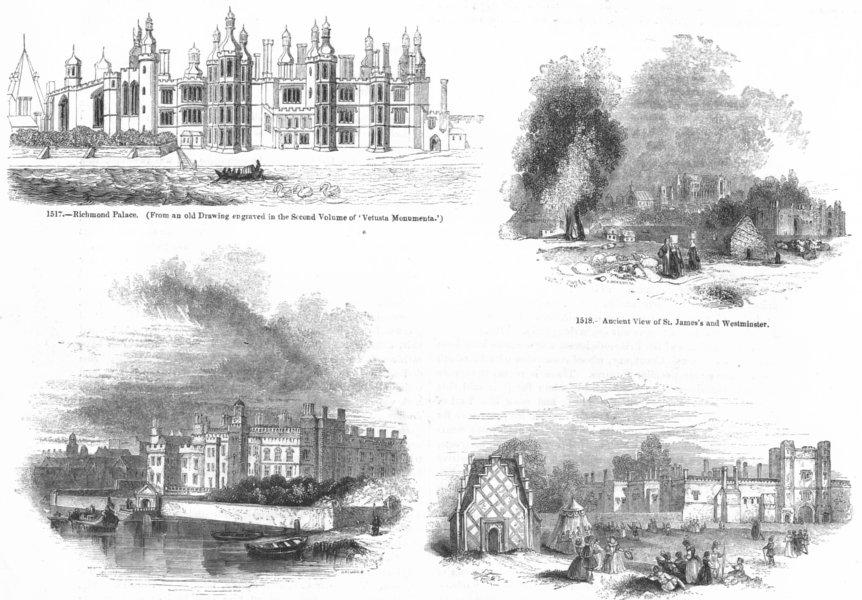 Associate Product LONDON. Richmond Palace; Somt House; St Jamess 1845 old antique print picture