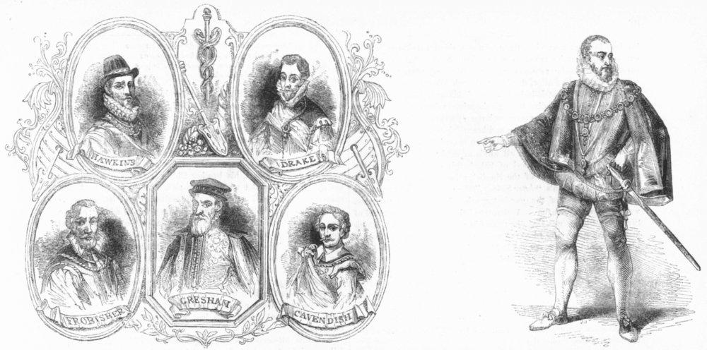 HOWARD. & Gresham, Drake, Cavendish, Frobisher, Hawkins 1845 old antique print