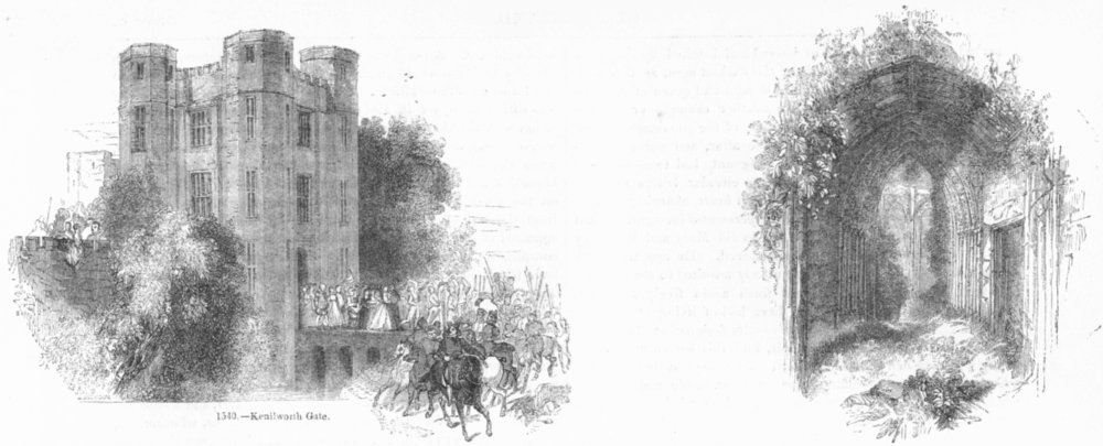 Associate Product WARCS. Kenilworth gate; entry to hall  1845 old antique vintage print picture