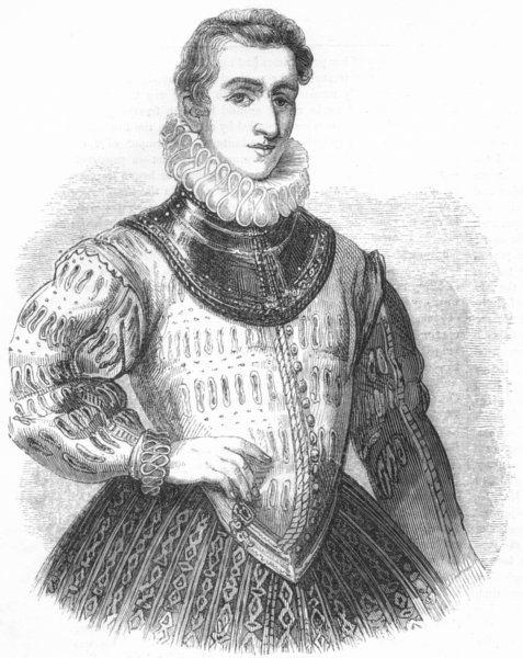Associate Product POETS. Philip Sidney(Anthony More) 1845 old antique vintage print picture