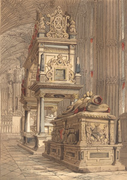 Associate Product LONDON. Tomb of Queen Elizabeth-Westminster Abbey 1845 old antique print