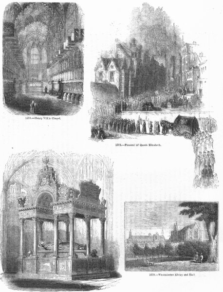 Associate Product ELIZABETH I. Tomb, Funeral; Henry VII Chapel 1845 old antique print picture