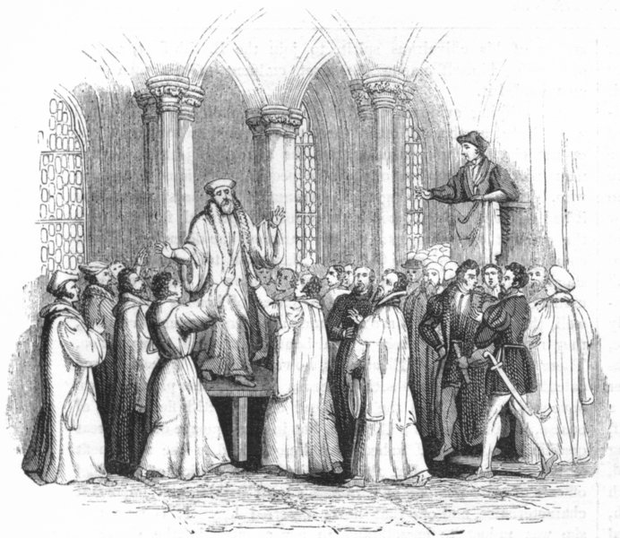 Associate Product OXON. Cranmer confessing, St Mary's Church, Oxford 1845 old antique print