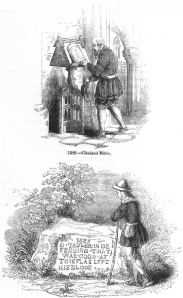 Associate Product RELIGION. Chain bible; Hadleigh Stone-Taylor martyr 1845 old antique print