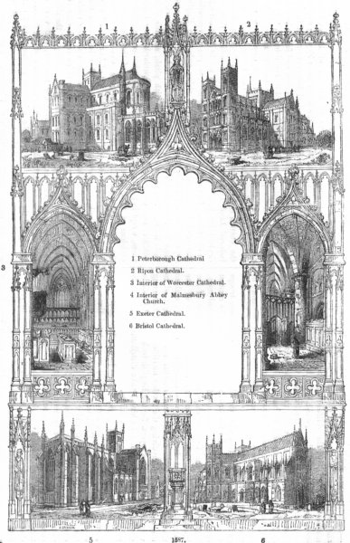 Associate Product CATHEDRALS. Peterborough, Ripon, Worcester, Exeter 1845 old antique print