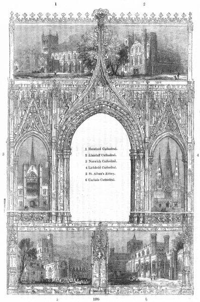 CATHEDRALS. Hereford, Llandaff, Norwich, Lichfield 1845 old antique print