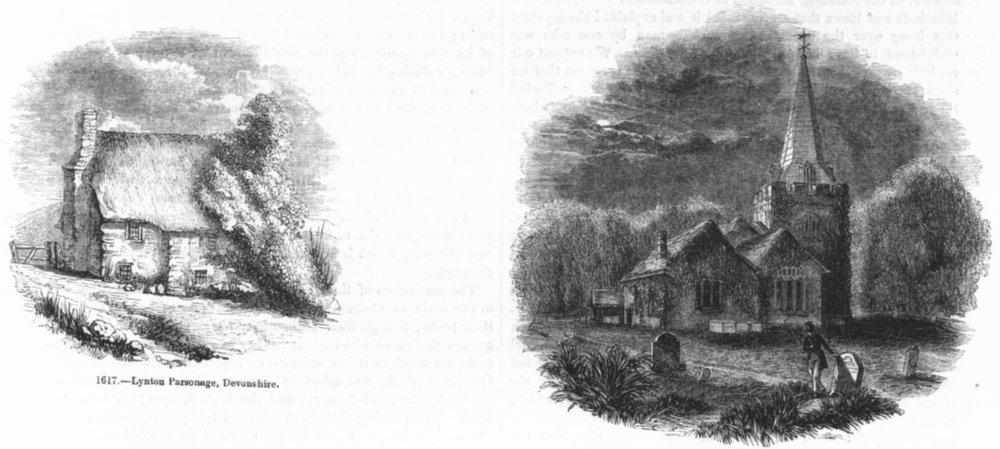 Associate Product DEVON. Lynton Parsonage; Stoke Church, Bucks 1845 old antique print picture