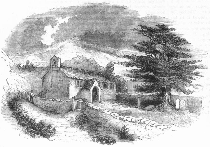 Associate Product LANCS. Seathwaite Chapel, Lancashire 1845 old antique vintage print picture