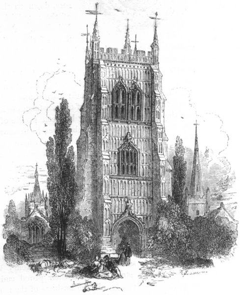 WORCS. The Bell Tower, Evesham 1845 old antique vintage print picture