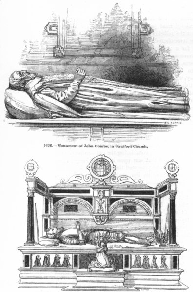 Associate Product STRATFORD CHURCH. John Combe, Thomas Lucy tombs 1845 old antique print picture