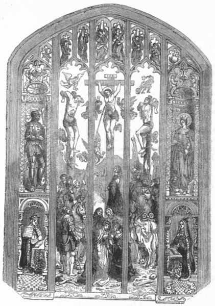 Associate Product WESTMINSTER. East window of St Margaret's Church 1845 old antique print