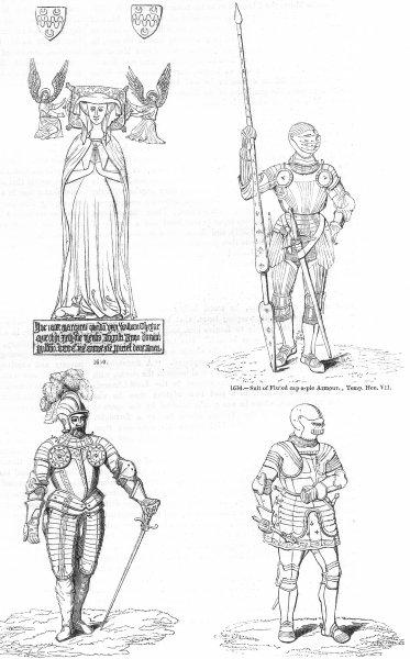 Associate Product HENRY VII ARMOUR. Cap-pie; Demi-Lancer; St George kt 1845 old antique print