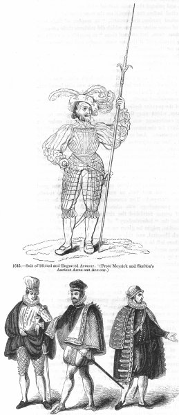 Associate Product COSTUME. Armour; Venetian, Spanish, French 1577-1590 1845 old antique print