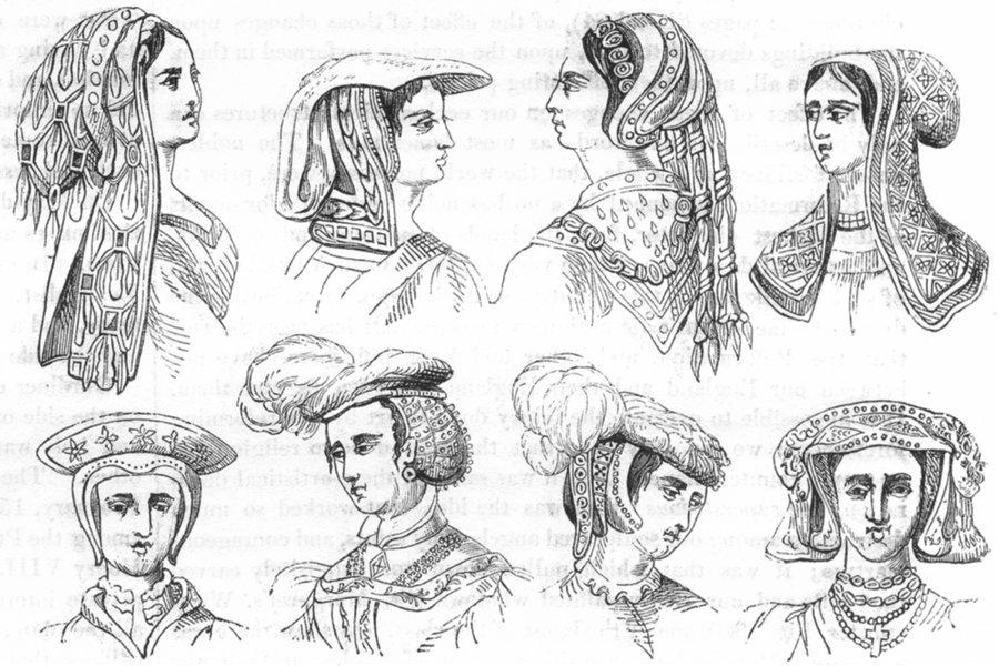 Associate Product PRETTY LADIES. Ladies Head-dresses, 16th Century 1845 old antique print