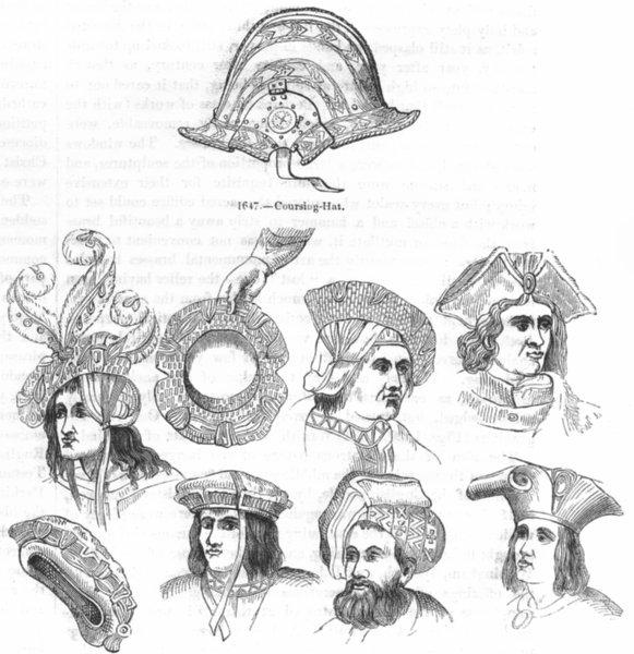 Associate Product HATS. Caps & bonnets of 16th Century 1845 old antique vintage print picture