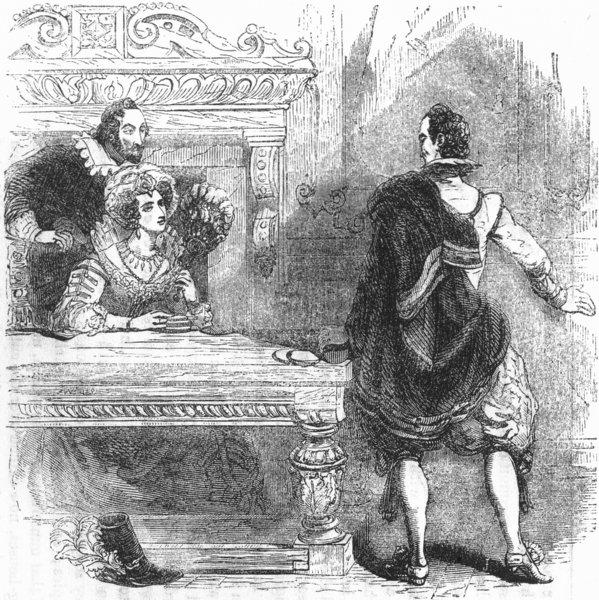 PORTRAITS. undomesticated pretty lady 1845 old antique vintage print picture