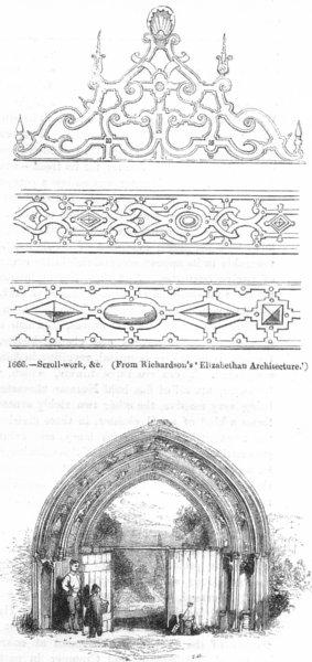 Associate Product WORCS. Elizabethan scroll-work; gateway, Evesham 1845 old antique print