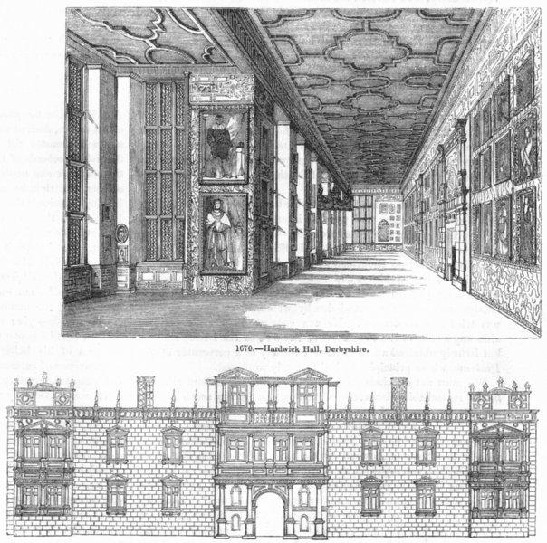 Associate Product DERBYS. Hardwick Hall; & Somt House 1845 old antique vintage print picture