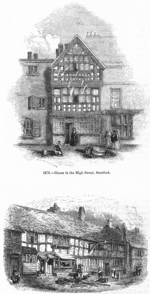 Associate Product WARCS. House, High St, Stratford; in Henley 1845 old antique print picture