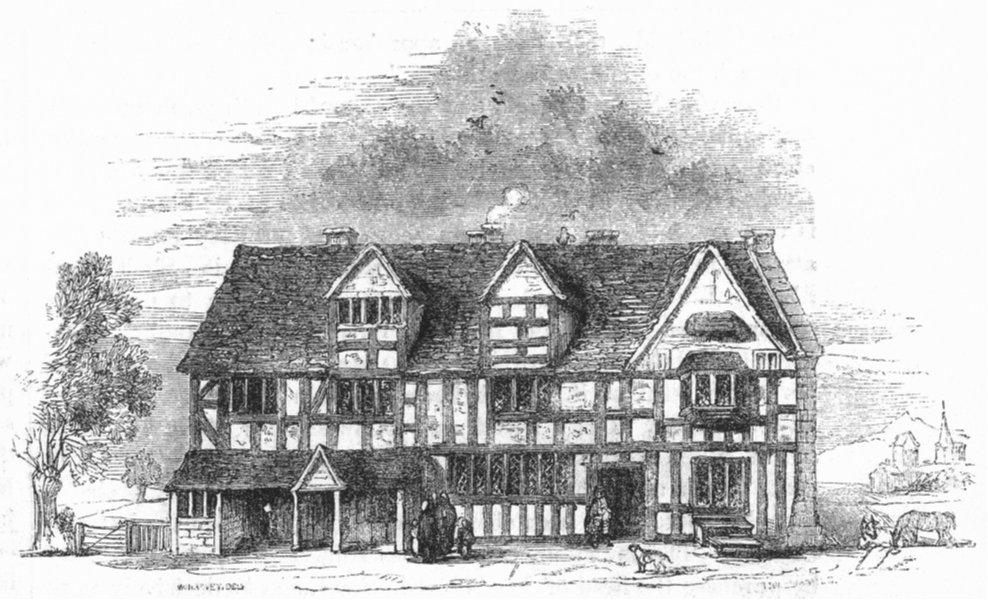 Associate Product SHAKESPEARE. John Shakspere's House in Henley St  1845 old antique print