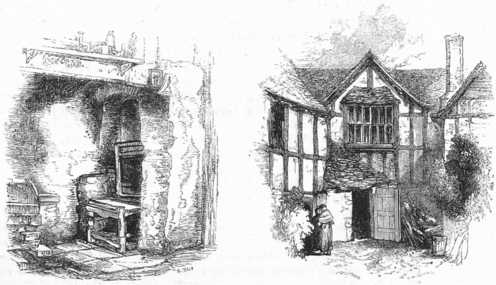 Associate Product WORCS. Chimney kitchen in Henley St; houses, Evesham 1845 old antique print