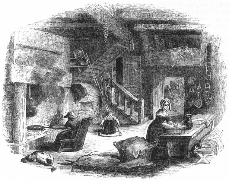 BUILDINGS. English Cottage 1845 old antique vintage print picture
