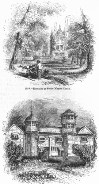 Associate Product LONDON. Remains of stoke Manor House; Vauxhall 1845 old antique print picture