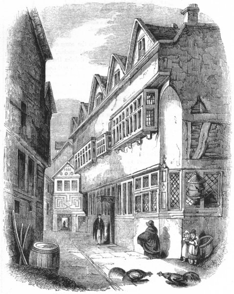 OXON. Carter's Hall Passage, with townhall, Oxford 1845 old antique print