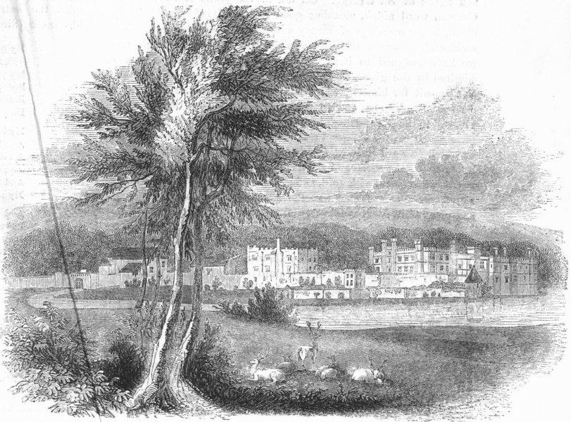 Associate Product KENT. Leeds Castle, Kent 1845 old antique vintage print picture