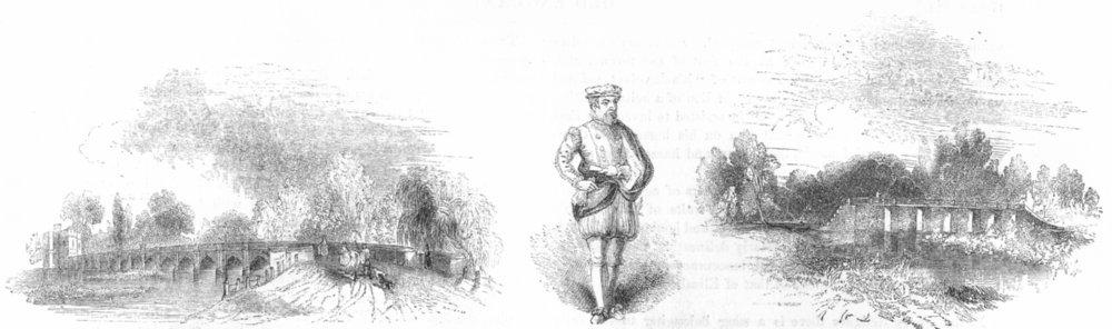 Associate Product STRATFORD. Clopton's Bridge; Thomas Gresham; Mill 1845 old antique print