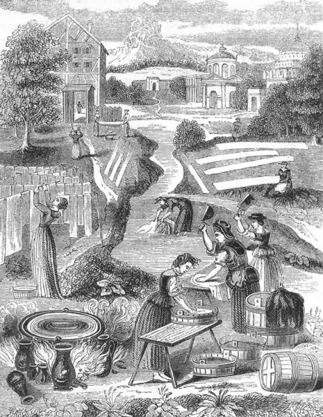Associate Product SOCIETY. Public Washing-grounds, 1582 1845 old antique vintage print picture