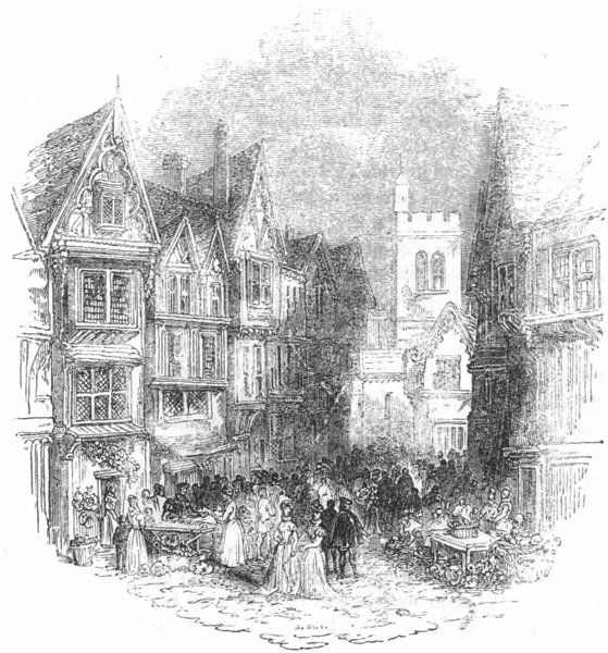 Associate Product LONDON. Bucklersbury in simple time 1845 old antique vintage print picture