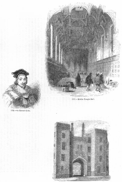 Associate Product MIDDLE TEMPLE. Edward Coke; Hall; Lincoln's Inn 1845 old antique print picture
