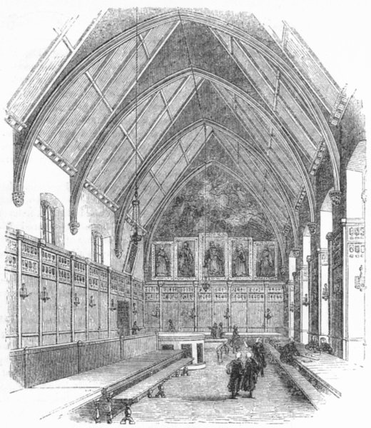 Associate Product LONDON. Inner Temple Hall 1845 old antique vintage print picture