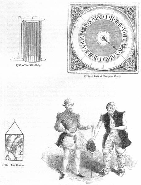 Associate Product #. Whirligig; Hampton Ct clock; Brank; Genings, Blunt 1845 old antique print