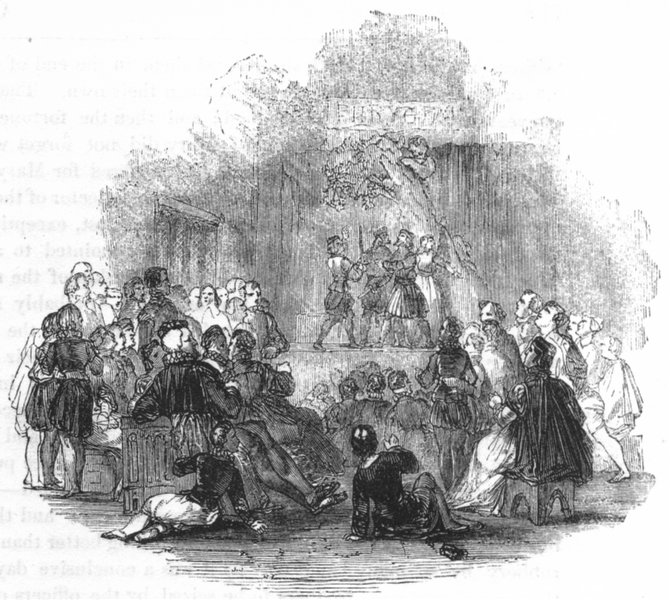 THEATRE. The Bailiff's Play 1845 old antique vintage print picture