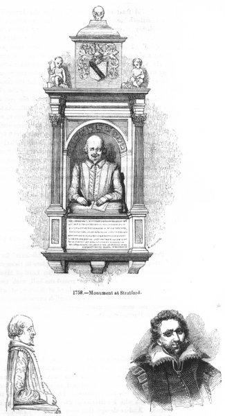 Associate Product WARCS. Monument, Stratford; Bust; Ben Jonson 1845 old antique print picture