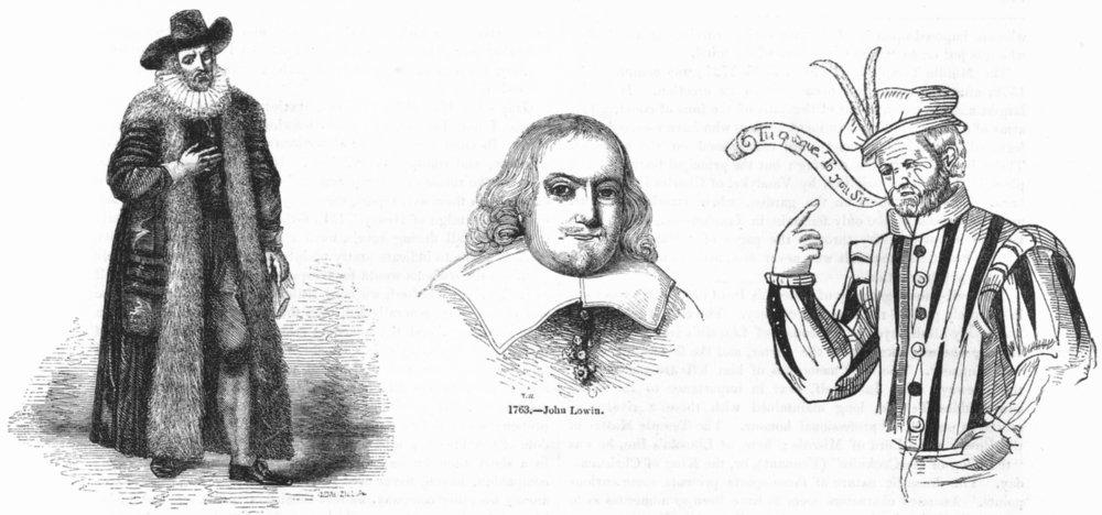 Associate Product PORTRAITS. Edward Alleyn; John Lowin; Thomas Greene 1845 old antique print