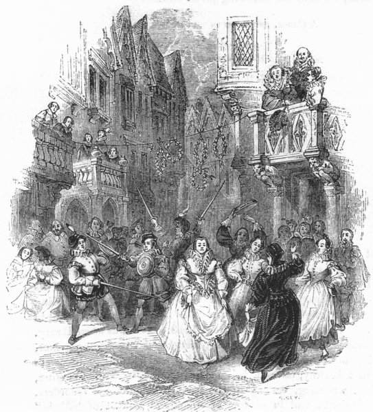 Associate Product DANCE. Playing, Bucklers-Maids dancing for Garlands 1845 old antique print