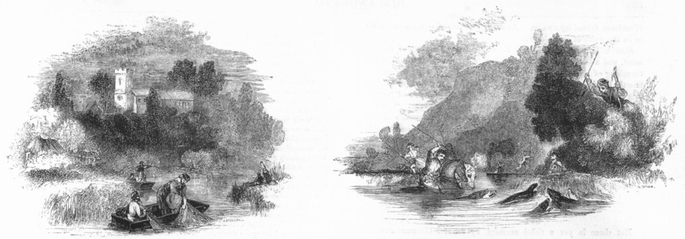 Associate Product FISHING. Fishing ; Otter-hunting 1845 old antique vintage print picture