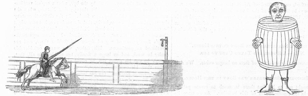JOUSTING. Tilting, ring; Drunkard's Cloak 1845 old antique print picture