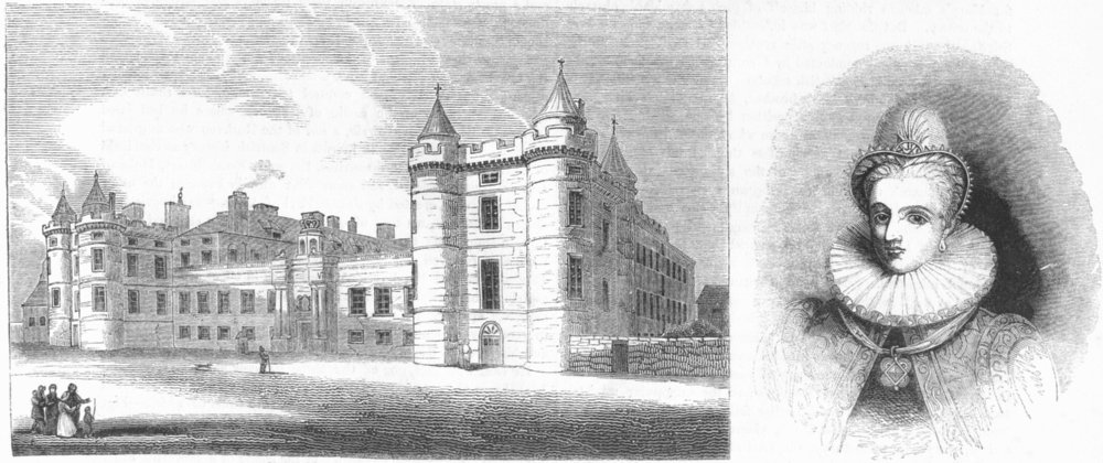 Associate Product HOLYROOD PALACE. & Anne of Denmark, Queen James I 1845 old antique print